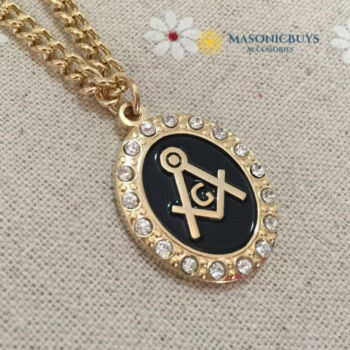 Gold Masonic Necklace Pendant with Chain