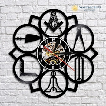 Masonic Wall Clock. Made Of Vinyl Record.