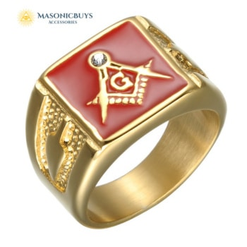 Classic Masonic Ring With Red Enamel