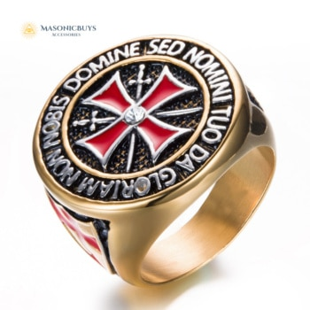 Knights Templar Masonic Ring With Cubic Zirconia