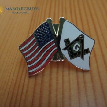 Masonic Pin Badge – Square & Compasses With American Flag