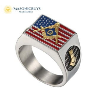 Buy Stainless Steel Masonic Ring With American Flag online at affordale price with FREE shipping