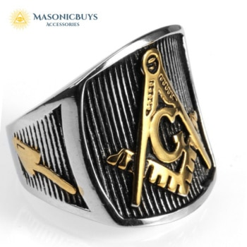 Classic Masonic Ring With Large Square & Compasses
