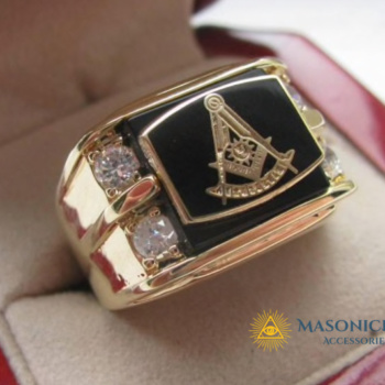 Classical Vintage 18K Gold Plated Masonic Ring