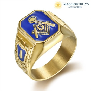 Stylish Blue Lodge Masonic Ring, Gold Plated Stainless Steel