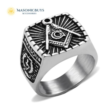 "Large Stainless Steel ""Master Mason"" Masonic Ring"