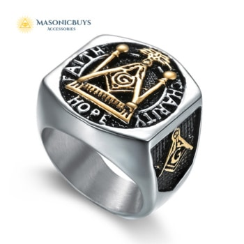 "Classic Masonic Ring ""Faith, Hope and Charity"""