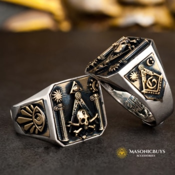 925 Silver Masonic Ring With The Skull & Crossbones