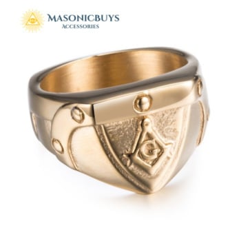 Simple Gold Plated Stainless Steel Masonic Ring