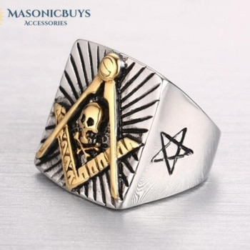 Large Stainless Steel Masonic Ring With The Skull