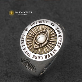 925 Silver Masonic Ring With The Eye of Providence
