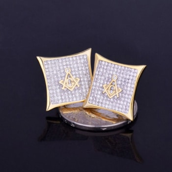 18K Gold Plated Masonic Earrings With Cubic Zirconias