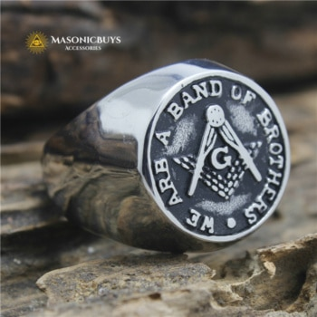 "Buy Stainless Steel Masonic Ring ""We Are A Band Of Brothers"" online at affordale price with FREE shipping"