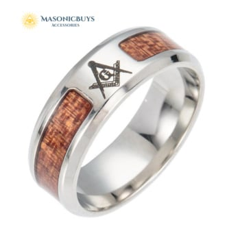 Stainless Steel & Wood Masonic Ring