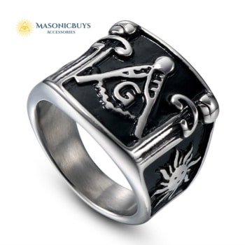 Buy Big Square Stainless Steel Masonic Ring online at affordale price with FREE shipping