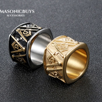 Stainless Steel Masonic Ring With Round Design