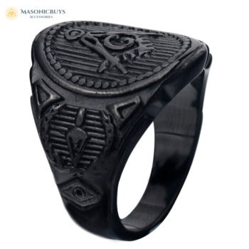 Black Modern Stainless Steel Masonic Cocktail Ring
