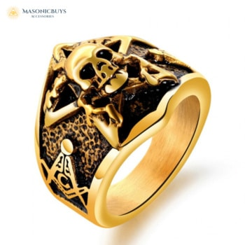 FreeMason Cocktail Ring With Skull Figure