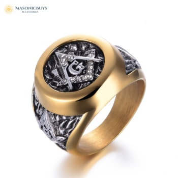 "Gorgeous Masonic Ring with ""Square and Compasses"""
