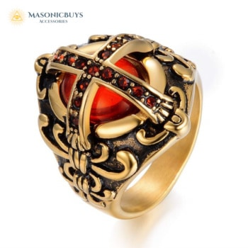 14K Gold Plated Knights Templar Cross Ring with Red Stones