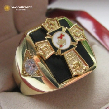 18K Gold Plated Vintage Knights Templar Grand Royal Ring