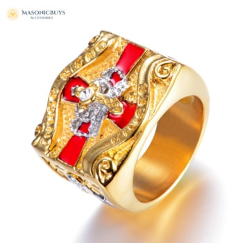 14K Gold Plated Knights Templar Ring with Royal Red Crown