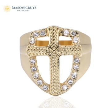 18K Gold Plated Knights Templar Royal Golden Cross Ring