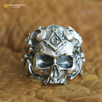 Skull Shaped Masonic Ring, High Quality 925 Sterling Silver