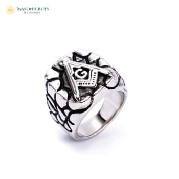 Rock Cliff Freemason Ring With Compasses and Letter G