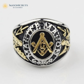 Buy Black-Gold Bumblebee Master Mason Ring online at affordale price with FREE shipping