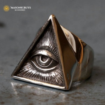 Triangle All Seeing Eye Stainless Steel Masonic Ring
