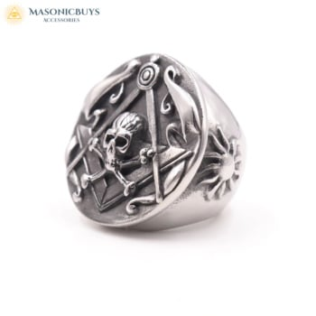Extra Big Stainless Steel Masonic Ring With Round Design