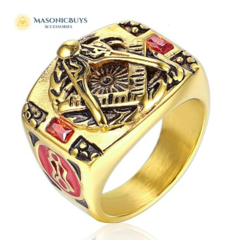Vintage Masonic Ring With Red Stone & Red Enamel