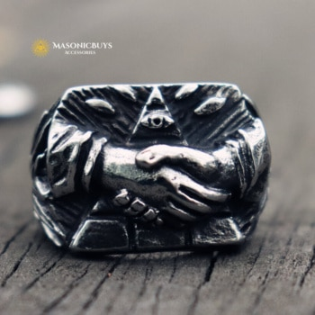 Masonic Ring With Handshake