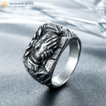 Buy Masonic Ring With Handshake – Unique Design! online at affordale price with FREE shipping