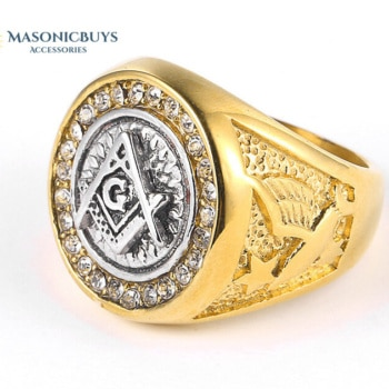 Shiny Gold Plated Masonic Ring With Cubic Zirconia Stones