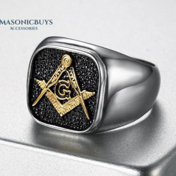 Buy Trendy High Polished Stainless Steel Masonic Ring online at affordale price with FREE shipping