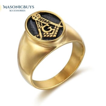 Gold Plated Vintage Masonic Ring