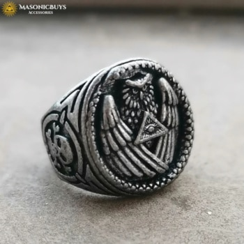 Antique Illuminati Ring With Owl And All Seeing Eye Symbol