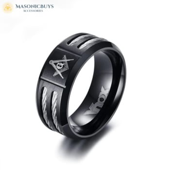 Black Stainless Steel Masonic Ring With Trendy Wire