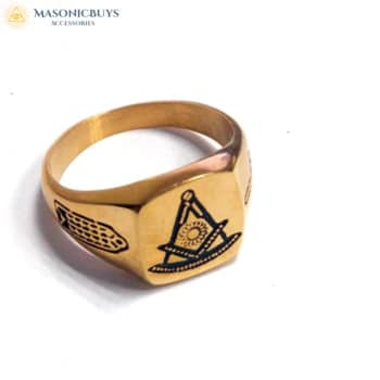 Buy Classic Design 14K Gold Plated Masonic Ring online at affordale price with FREE shipping