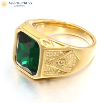Buy Exclusive Masonic Ring With Beautiful Green Stone online at affordale price with FREE shipping