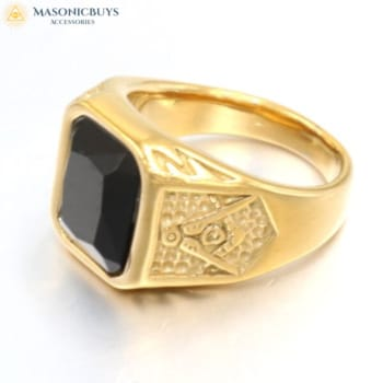 Buy Exclusive Masonic Ring With Beautiful Black Stone online at affordale price with FREE shipping