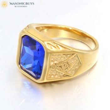 Exclusive Masonic Ring With Beautiful Blue Stone