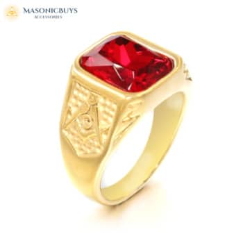 Exclusive Masonic Ring With Beautiful Red Stone