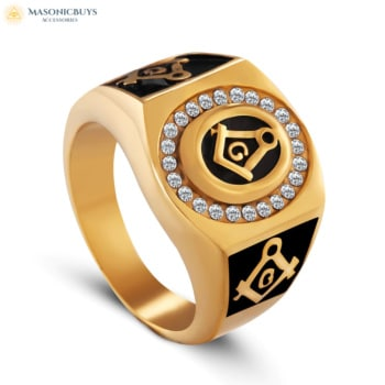 Buy Exclusive yet Minimal Black and Gold Colour Masonic Ring online at affordale price with FREE shipping