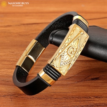 Buy Best Selling Genuine Leather Masonic Bracelet With Gold Plated Symbol online at affordale price with FREE shipping