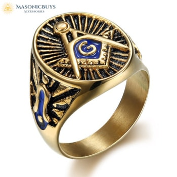 Buy Golden-Blue Freemason Ring online at affordale price with FREE shipping