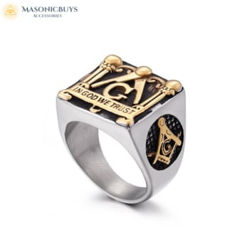 Massive Masonic Ring with In God We Trust Motto