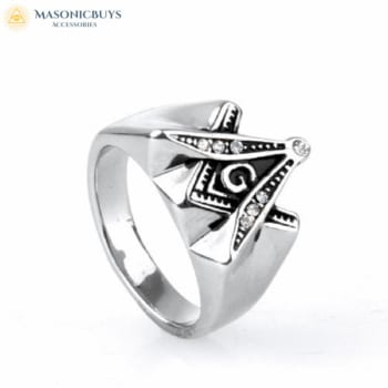 Juvenile Freemason Ring With Square And Compasses Symbol